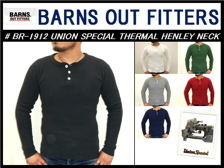 【バーンズ】<br>UNION SPECIAL THERMAL HENLEY NECK<br>M size